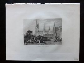After Vickers 1834 Antique Print. Market Place, Lubeck, Germany